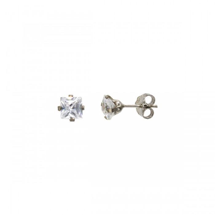 Σκουλαρίκια λευκόχρυσα 14Κ με ζιργκόν πέτρες - S1128