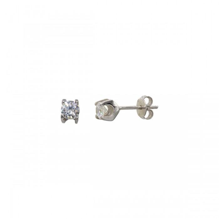 Σκουλαρίκια λευκόχρυσα 14Κ με ζιργκόν πέτρες - S1130