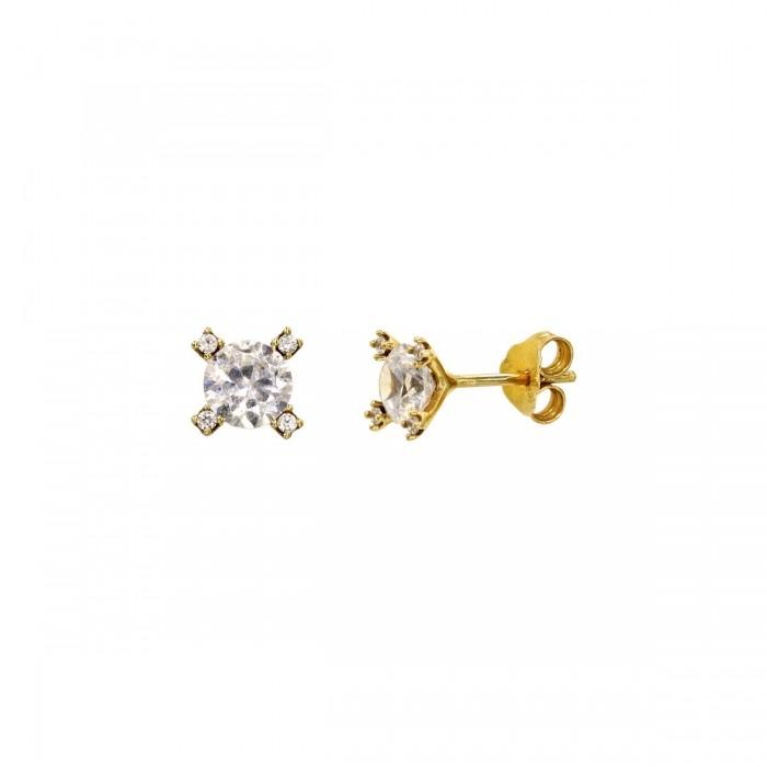 Σκουλαρίκια χρυσά 14Κ με ζιργκόν πέτρες - S1133