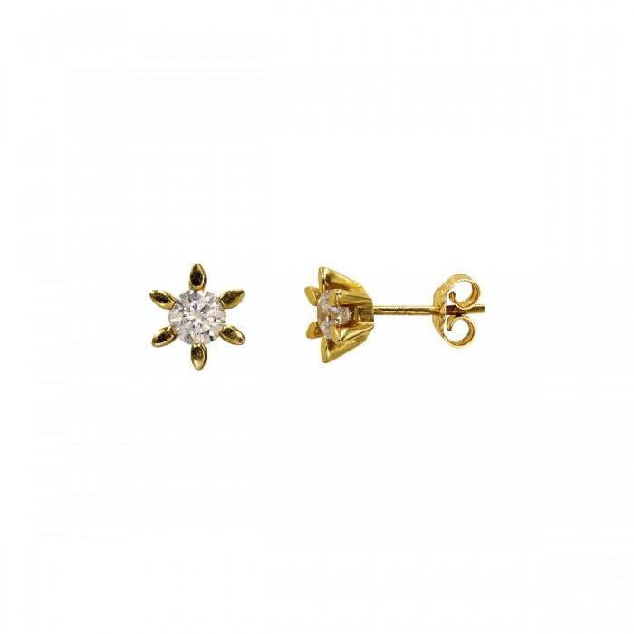 Σκουλαρίκια χρυσά 14Κ με ζιργκόν πέτρες - S1135