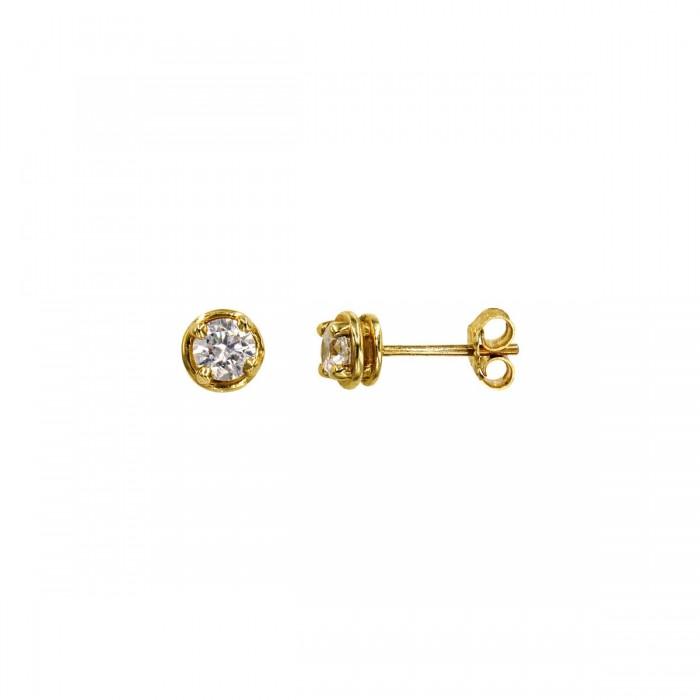 Σκουλαρίκια χρυσά 14Κ με ζιργκόν πέτρες - S1139
