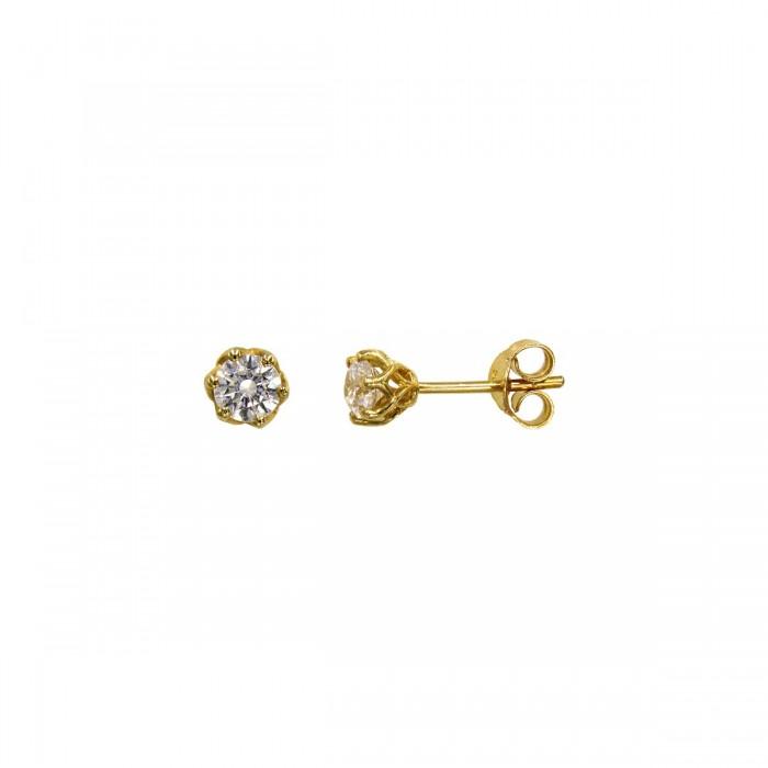 Σκουλαρίκια χρυσά 14Κ με ζιργκόν πέτρες - S1143