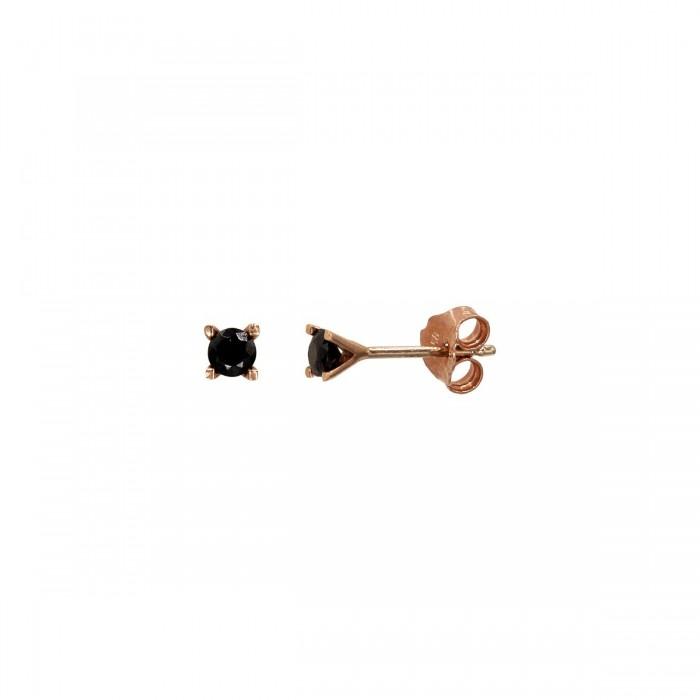 Σκουλαρίκια ροζ χρυσά 14Κ με ζιργκόν πέτρες - S1147
