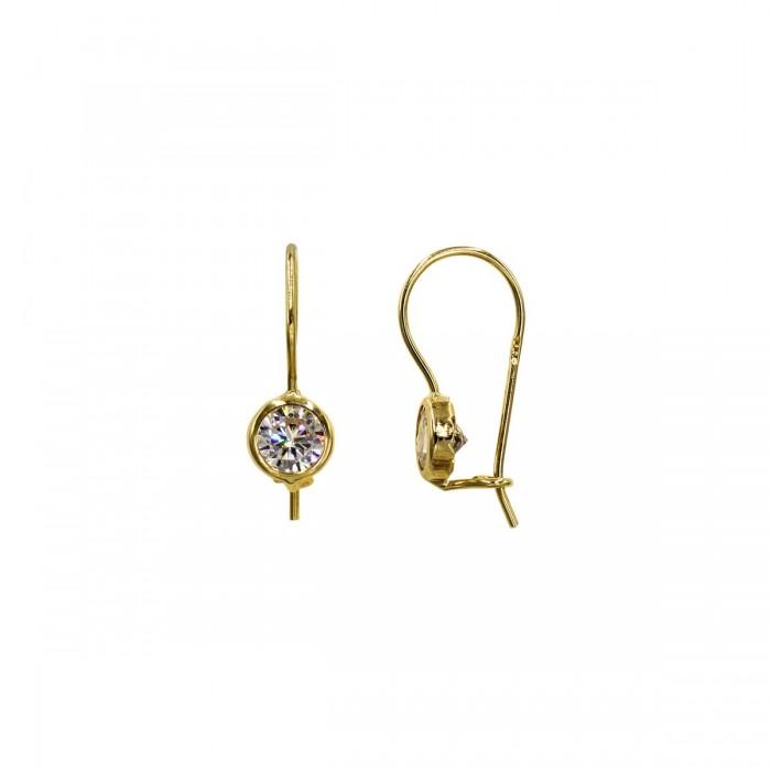 Σκουλαρίκια κρεμαστά χρυσά 14Κ με ζιργκόν πέτρες - S1156