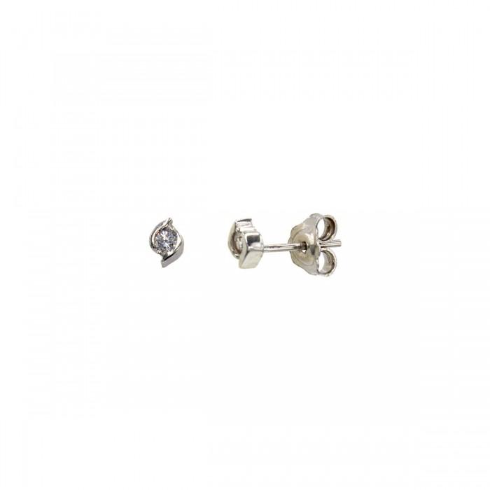 Σκουλαρίκια λευκόχρυσα 14Κ με ζιργκόν πέτρες - S1157L