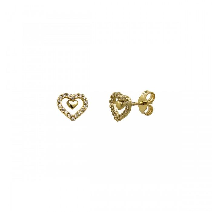 Σκουλαρίκια καρδιά χρυσά 14Κ με ζιργκόν πέτρες - S1161