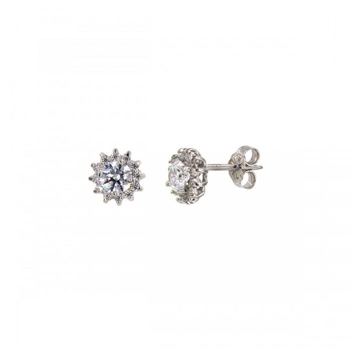 Σκουλαρίκια ροζέτες λευκόχρυσα 14Κ με ζιργκόν πέτρες - S1164