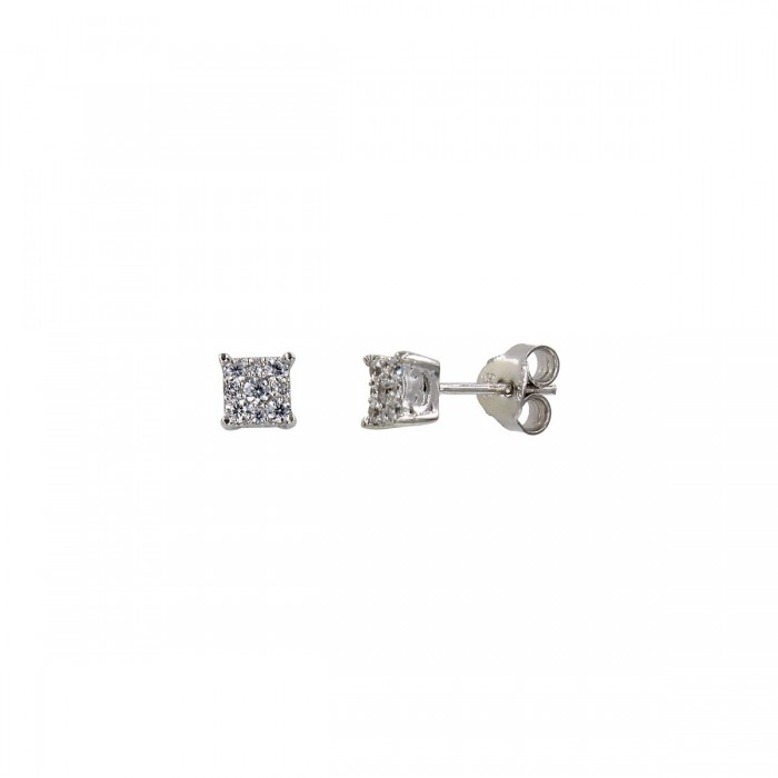 Σκουλαρίκια λευκόχρυσα 14Κ με ζιργκόν πέτρες - S1173