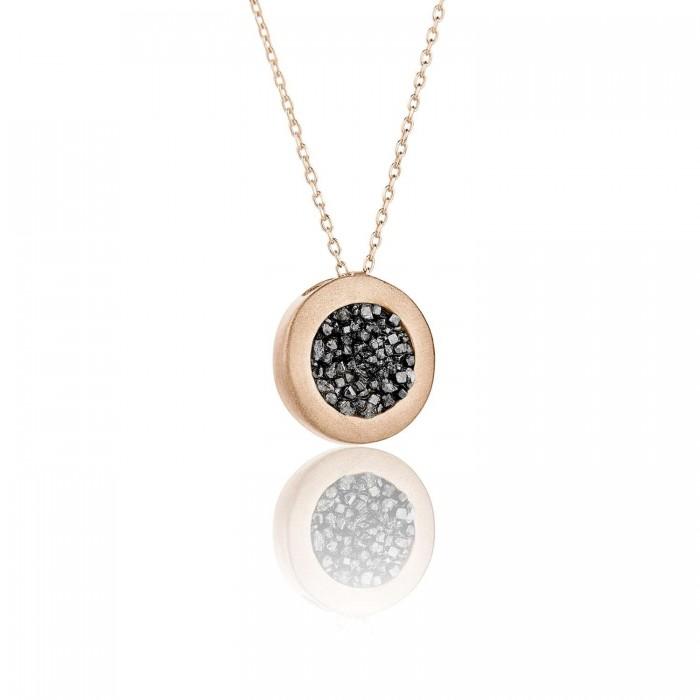 Small diamond circle pendant - SDP1PB