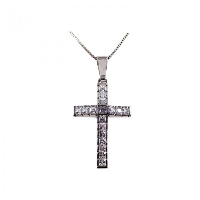 Γυναικείος λευκόχρυσος σταυρός 14Κ - ST1307