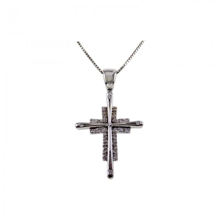 Γυναικείος λευκόχρυσος σταυρός 18Κ - ST1308