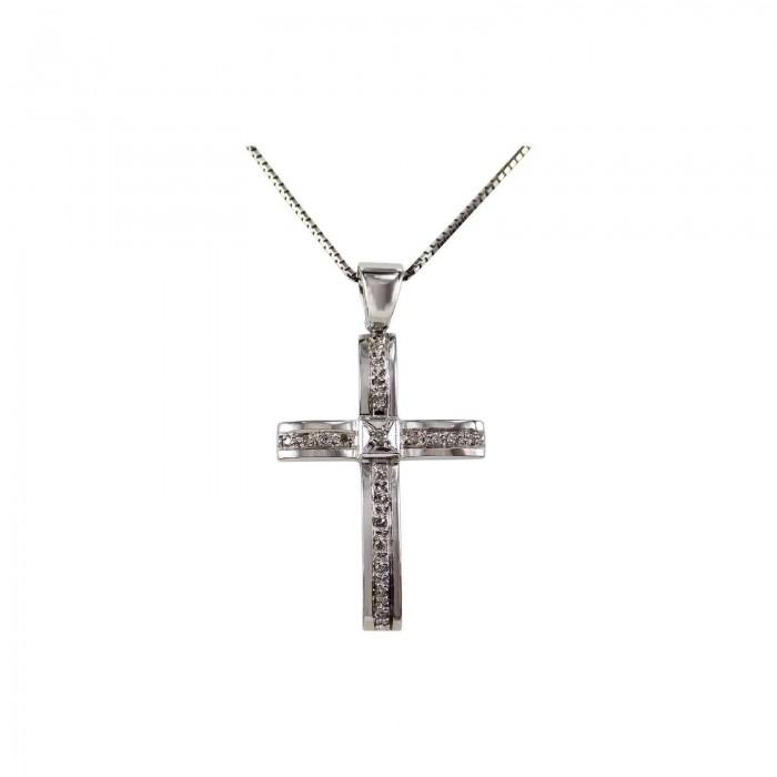 Γυναικείος λευκόχρυσος σταυρός 18Κ - ST1310