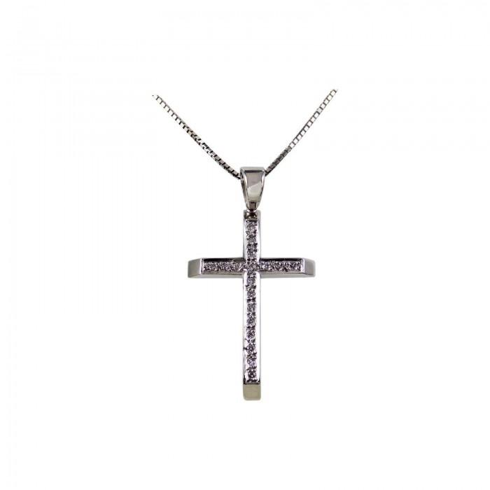 Γυναικείος λευκόχρυσος σταυρός 18Κ - ST1311