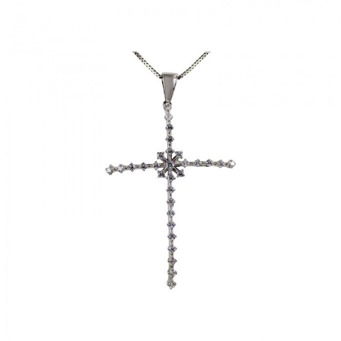 Γυναικείος λευκόχρυσος σταυρός 14Κ - ST1317
