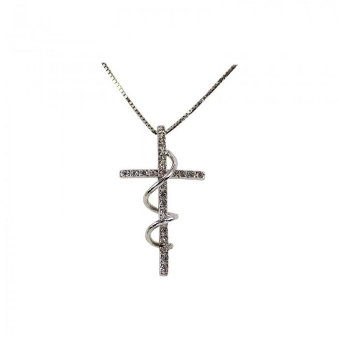 Γυναικείος λευκόχρυσος σταυρός 14Κ - ST1322