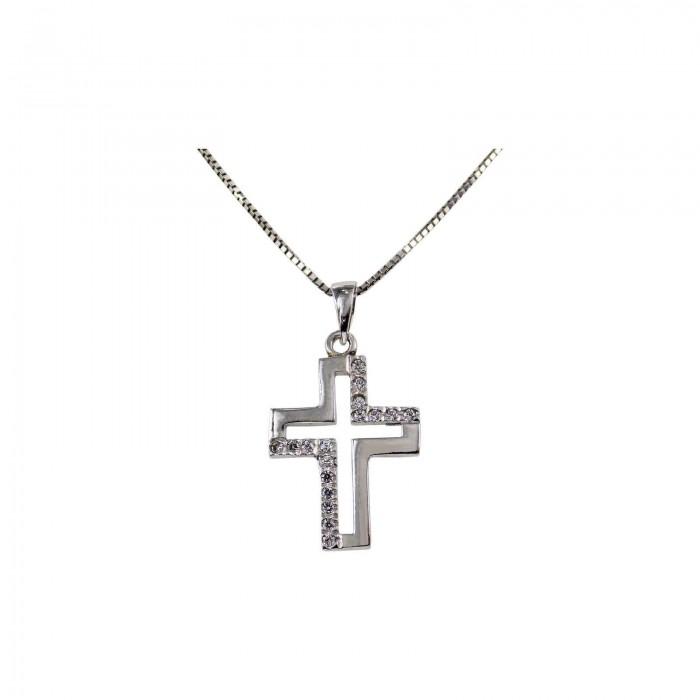 Γυναικείος λευκόχρυσος σταυρός 14Κ - ST1329