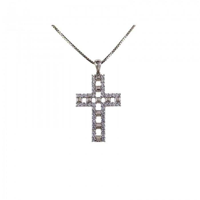 Γυναικείος λευκόχρυσος σταυρός 14Κ - ST1332