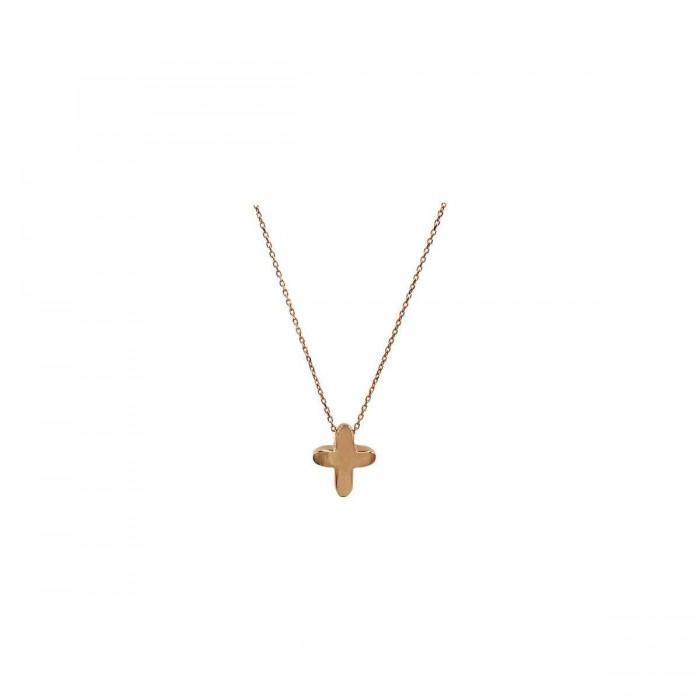 Κολιέ σταυρός ροζ χρυσό 14Κ - ST1508R