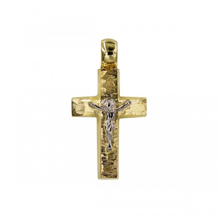 Ανδρικός δίχρωμος σταυρός 14Κ - ST1565