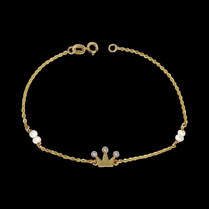 Βραχιόλι κορόνα χρυσό 14Κ - BR1083