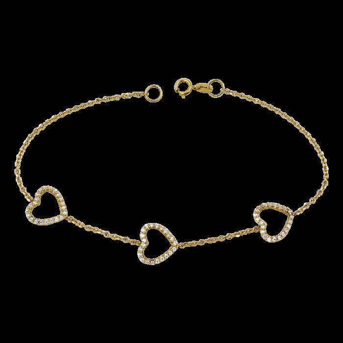 Βραχιόλι καρδιές χρυσό 14Κ - BR1113