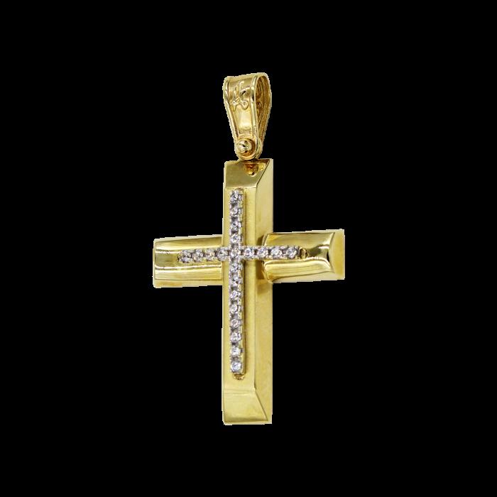 Γυναικείος χρυσός σταυρός 14Κ - ST1005