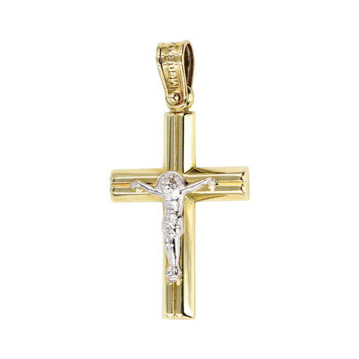 Ανδρικός δίχρωμος σταυρός 14Κ - ST1009