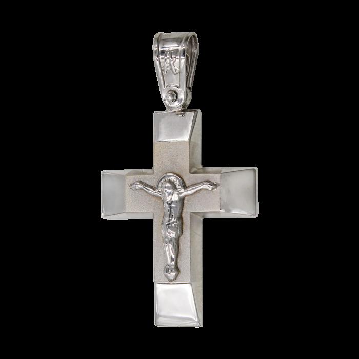Ανδρικός λευκόχρυσος σταυρός 14Κ - ST1049