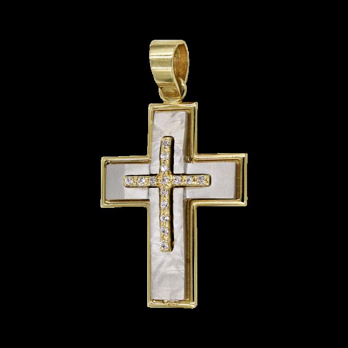 Γυναικείος δίχρωμος σταυρός 14Κ - ST1061