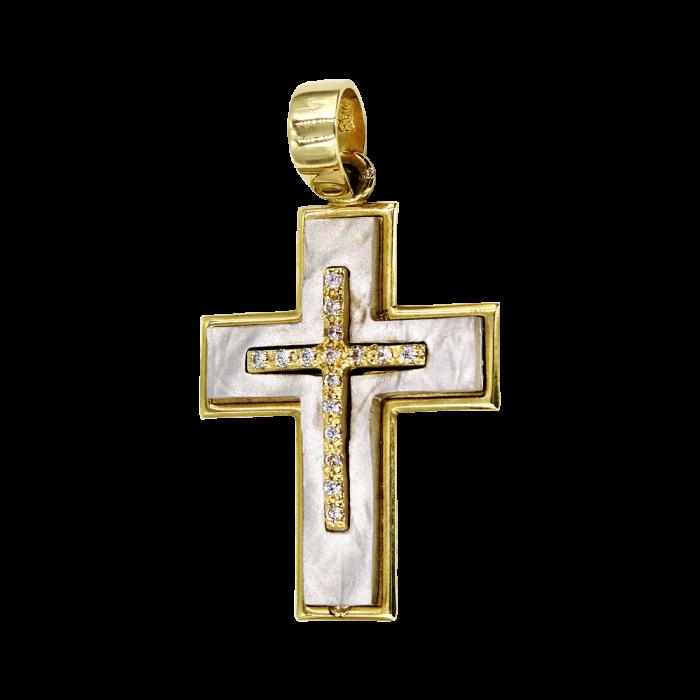 Γυναικείος δίχρωμος σταυρός 14Κ - ST1065