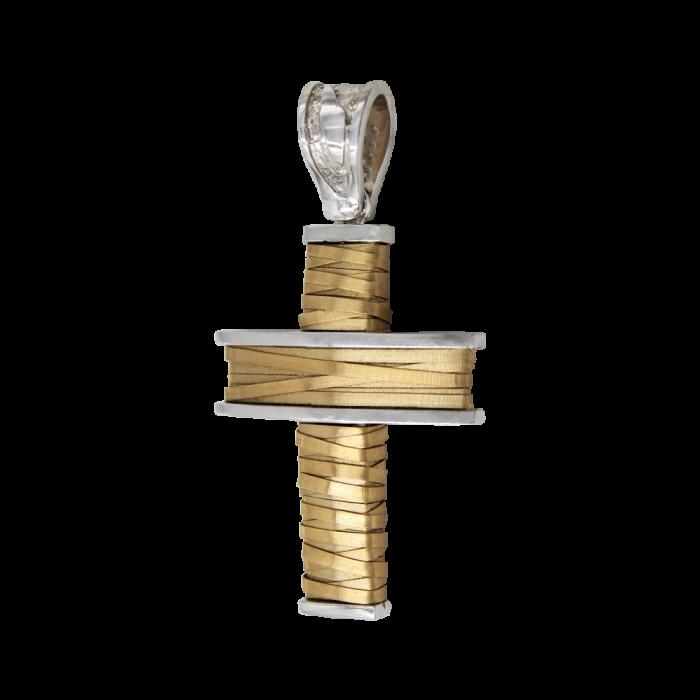 Ανδρικός δίχρωμος σταυρός 14Κ - ST1161