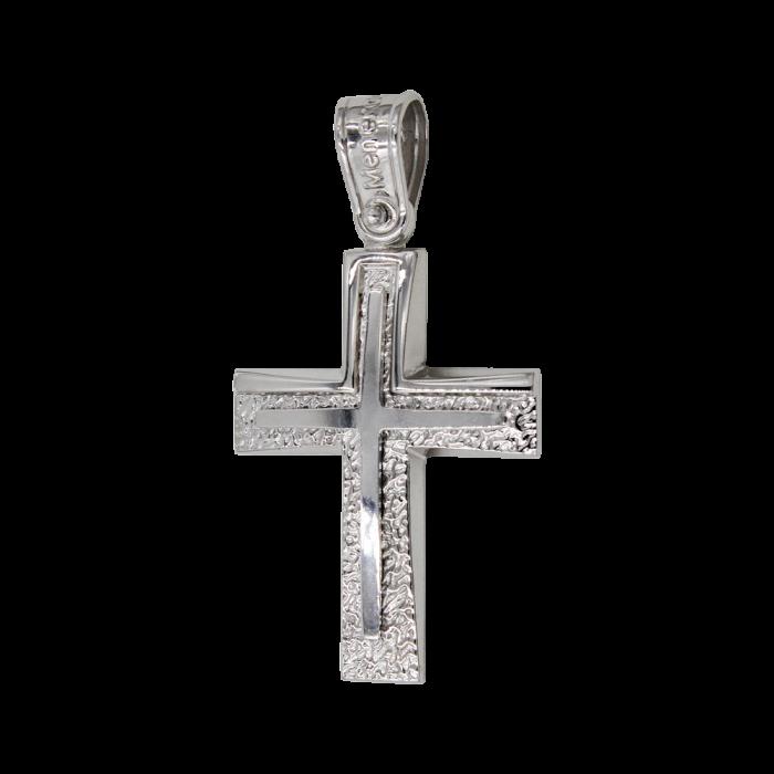 Ανδρικός λευκόχρυσος σταυρός 14Κ - ST1427