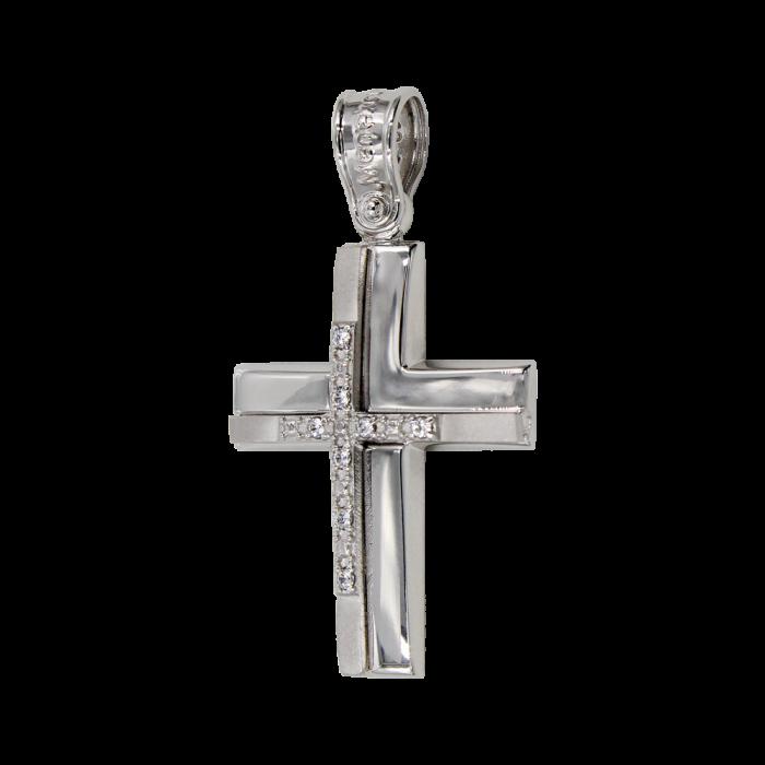 Γυναικείος λευκόχρυσος σταυρός 14Κ - ST1428