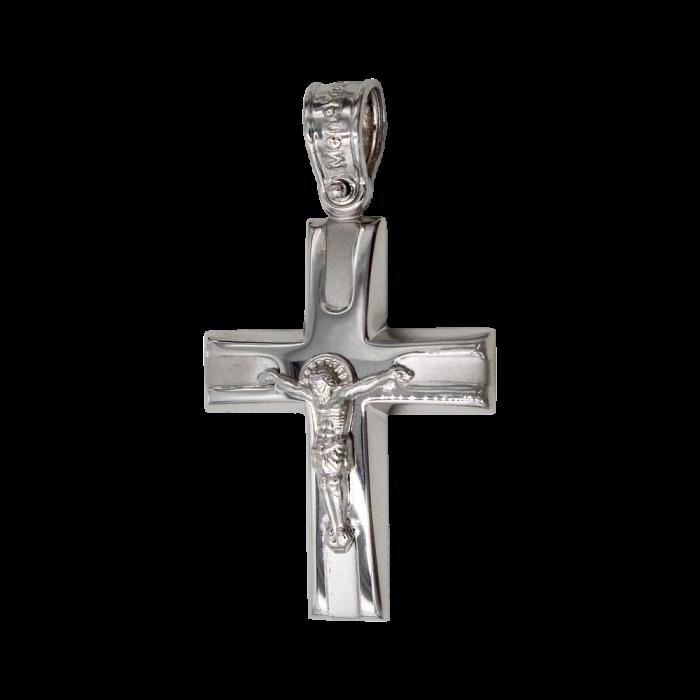 Ανδρικός λευκόχρυσος σταυρός 14Κ - ST1432