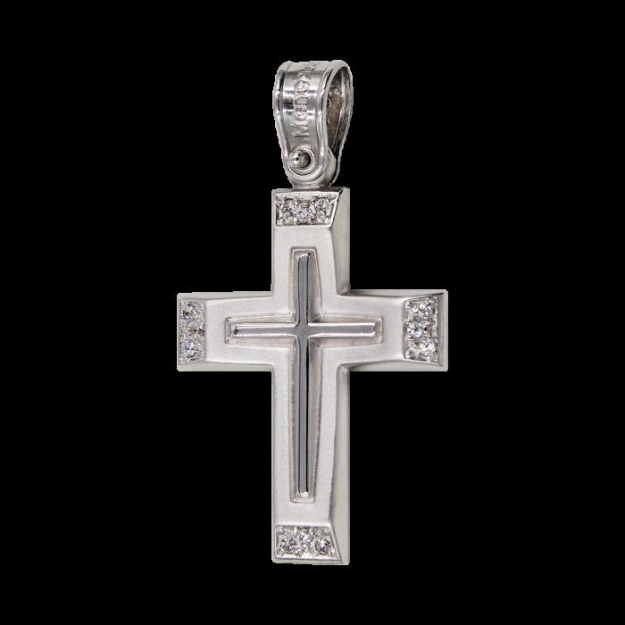 Γυναικείος λευκόχρυσος σταυρός 14Κ - ST1434