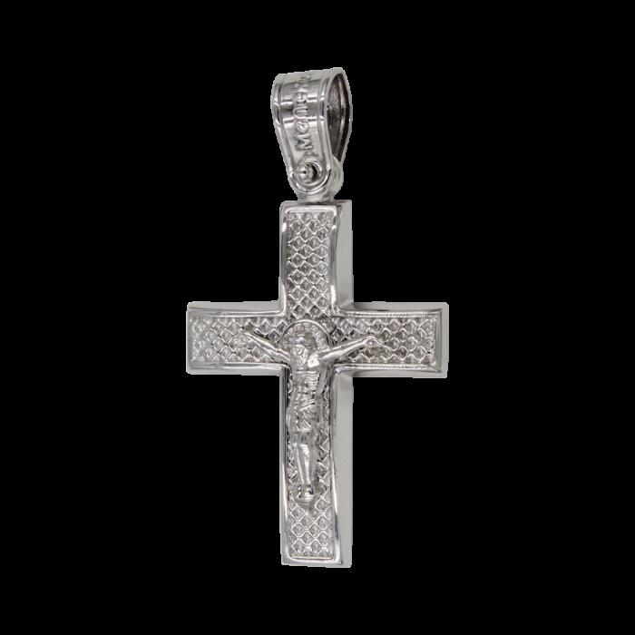 Ανδρικός λευκόχρυσος σταυρός 14Κ - ST1435
