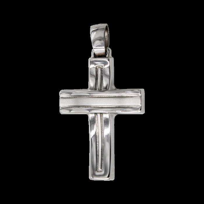Ανδρικός λευκόχρυσος σταυρός 14Κ - ST1438