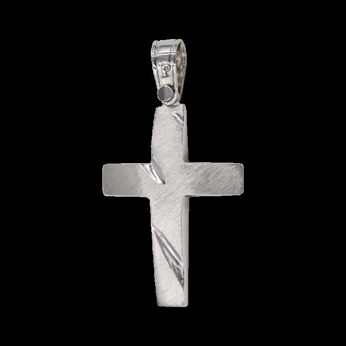 Ανδρικός λευκόχρυσος σταυρός 14Κ - ST1450