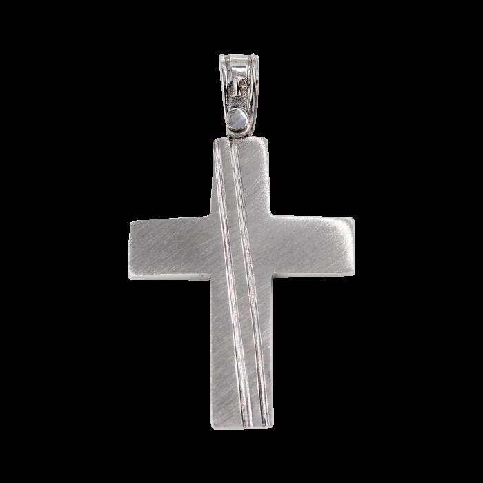 Ανδρικός λευκόχρυσος σταυρός 14Κ - ST1451