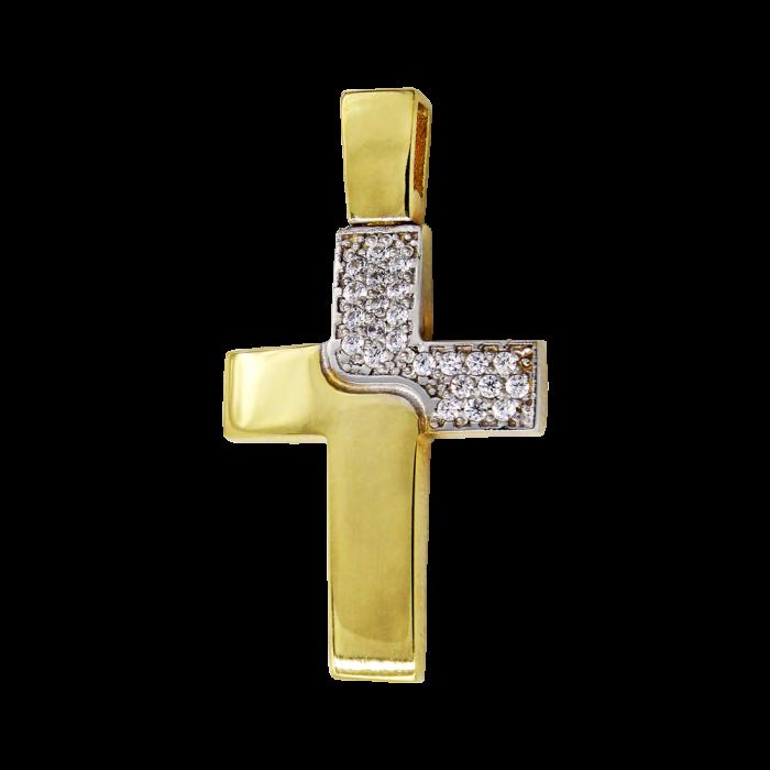 Γυναικείος δίχρωμος σταυρός 14Κ - ST1492
