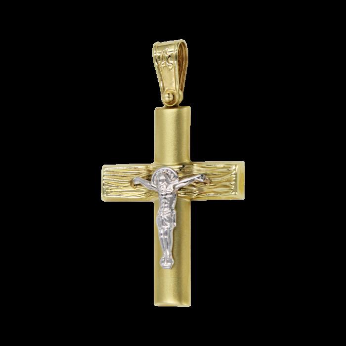 Ανδρικός δίχρωμος σταυρός 14Κ - ST1510