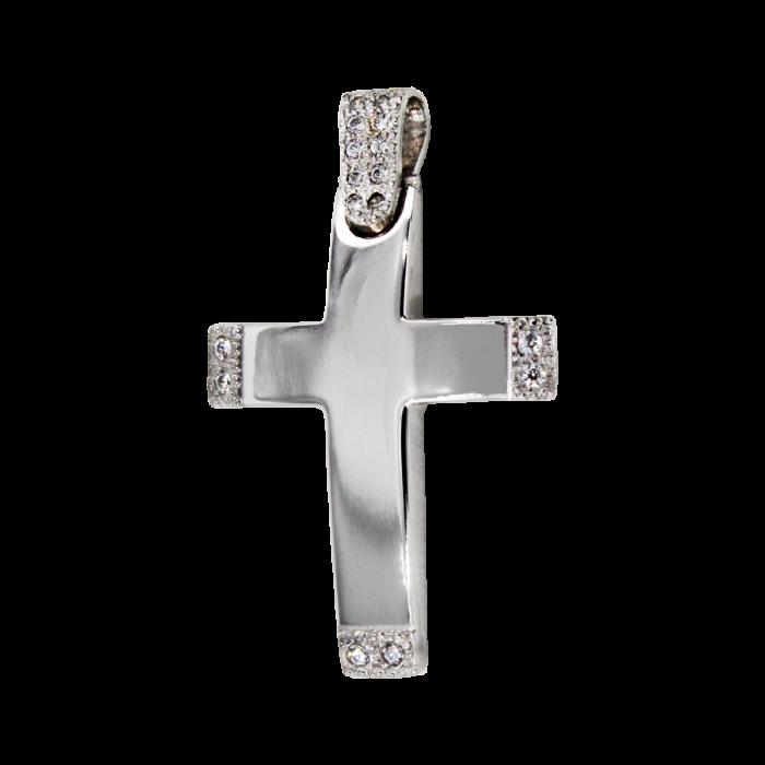 Γυναικείος λευκόχρυσος σταυρός 14Κ - ST1514