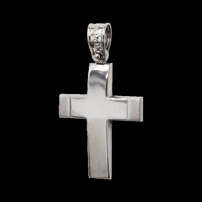 Ανδρικός λευκόχρυσος σταυρός 14Κ - ST1518