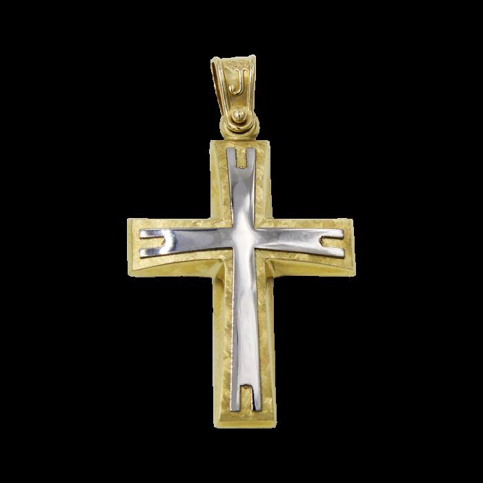 Ανδρικός δίχρωμος σταυρός 14Κ - ST1526