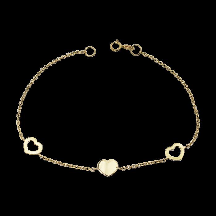 Βραχιόλι καρδιές χρυσό 14Κ - BR1098