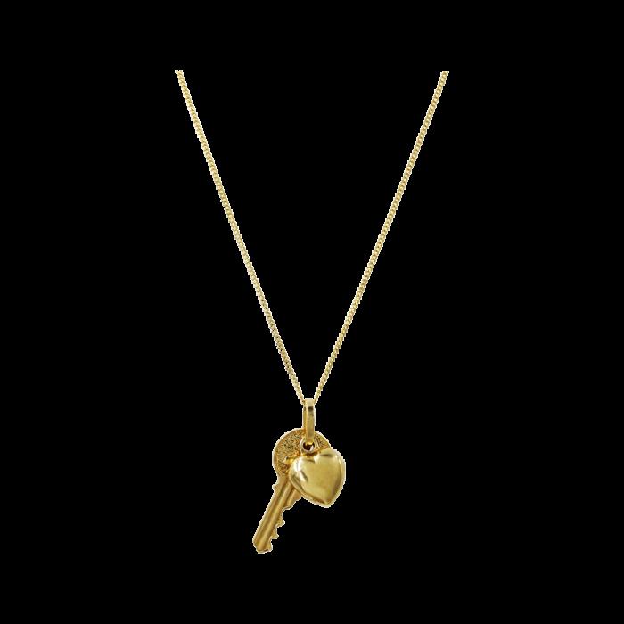 Κολιέ Κλειδί & Καρδιά Χρυσό 14Κ - K1305