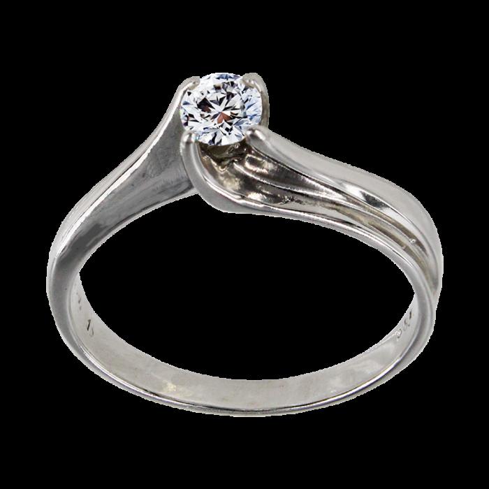 Μονόπετρο δαχτυλίδι λευκόχρυσο 14Κ - MD1001