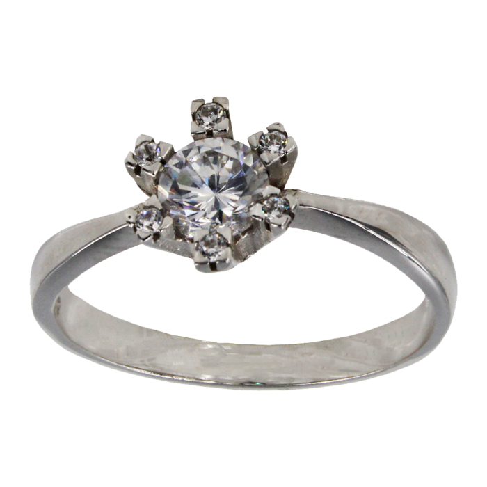 Μονόπετρο δαχτυλίδι λευκόχρυσο 14Κ - MD1005