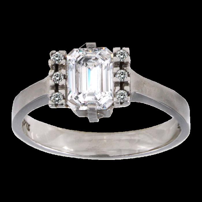Μονόπετρο δαχτυλίδι λευκόχρυσο 14Κ - MD1007