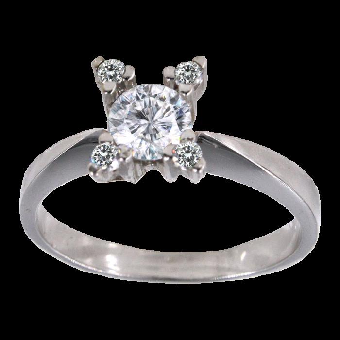 Μονόπετρο δαχτυλίδι λευκόχρυσο 14Κ - MD1008